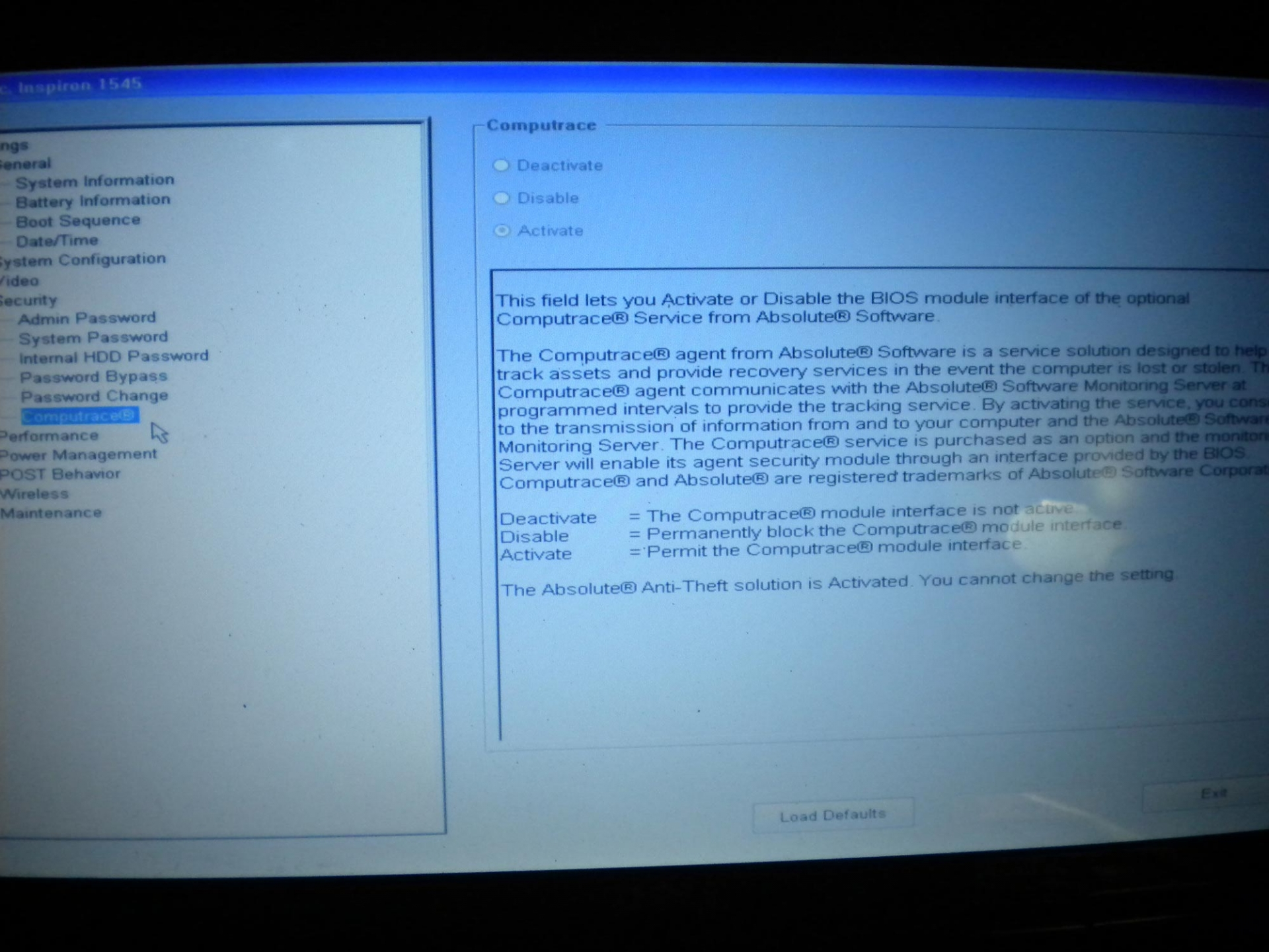 LAPTOP DELL WAS LOCKED COMPUTRACE - Ghostlyhaks Forum